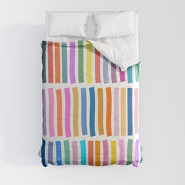 Bright Whimsical Rainbow Stripes Comforters