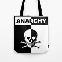 anarchy Tote Bags featuring ANARCHY SKULL by shannon's art space