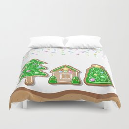 Merry Christmas Poster with Gingerbread House and Christmas Tree Duvet Cover