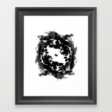 Enso black and white minimal watercolor japanese abstract painting zen art Framed Art Print