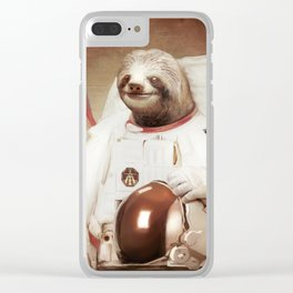 Sloth Astronaut Clear iPhone Case