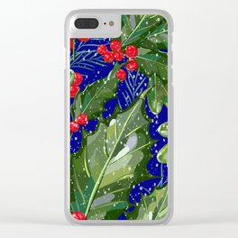 Christmas Snow Holly | Blue Clear iPhone Case