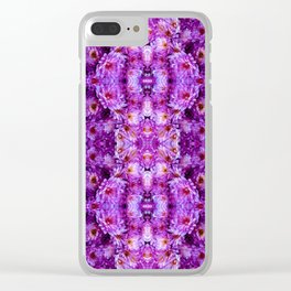 Violet Purple White Flower Pattern Clear iPhone Case