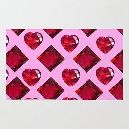 RUBY JEWELED  VALENTINE RUBY HEARTS  DESIGN Rug
