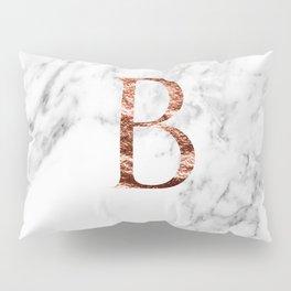 Monogram rose gold marble B Pillow Sham