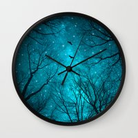 teal Wall Clocks featuring Stars Can't Shine Without Darkness  by soaring anchor designs