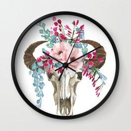 Bohemian bull skull with flowers Wall Clock