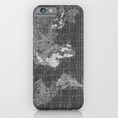 Black and White Vintage World Map Slim Case iPhone 6