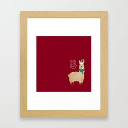 llama christmas card Framed Art Print