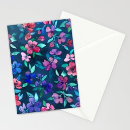 Southern Summer Floral - navy + colors Stationery Cards
