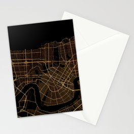 Black and gold New Orleans map Stationery Cards
