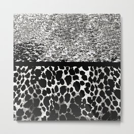 ANIMAL PRINT CHEETAH SPARKLE SILVER AND BLACK PATTERN Metal Print