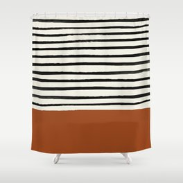 Burnt Orange x Stripes Shower Curtain