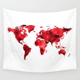World Map Red Paint Wall Tapestry