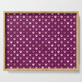 Purple & Rose Gold Crown Pattern Serving Tray