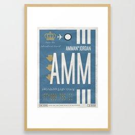 Vintage Amman Jordan Luggage Tag Poster Framed Art Print