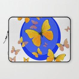 YELLOW BUTTERFLIES SWARM & BLUE RING MODERN ART Laptop Sleeve