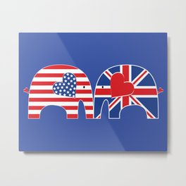 U.S.-U.K. Friendship Elephants Metal Print