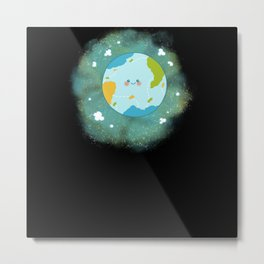 Happy Planet Cheerful Earth Climate Change Metal Print