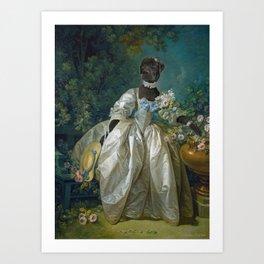 Lady Black Labrador Art Print