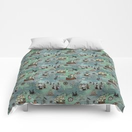 Pirate Ships Nautical Map Comforters