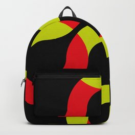 Some eight shaped curves, half red, half snake, rotating in an endless black space Backpack