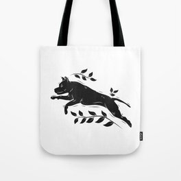 Jumping Dog With Leaves –black palette Tote Bag