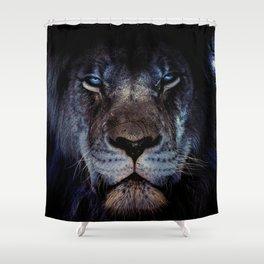 Blue-Gold Lion Shower Curtain