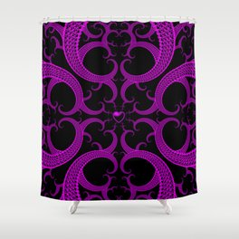 Purple Gothic Fractal Heart Pattern Shower Curtain