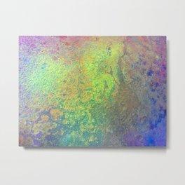 Copper Mixed Media Painting On Canvas Under UV Spectrum Lightbulb Metal Print
