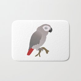 Cute African grey parrot vector Bath Mat