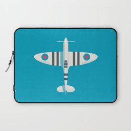 Supermarine Spitfire WWII RAF Fighter Aircraft - Stripe Cyan Laptop Sleeve