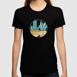 Blue and Gold Cactus Garden T-shirt