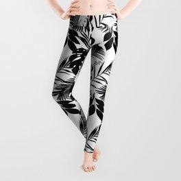 Black N White Monstera And Palm Leaves Leggings