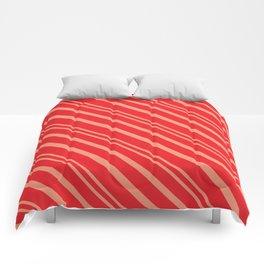 Modern Red & Gold Stripey Pattern Comforters