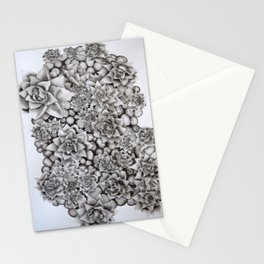 Watercolour pebbles and succulents Stationery Cards