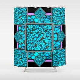 Western  Black-Purple Turquois Birthstone  Inlay Design Shower Curtain