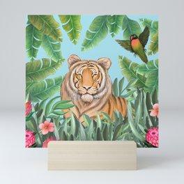 Tropical tiger jungle, tropical flowers Mini Art Print