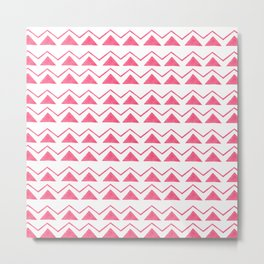 Hand painted pink watercolor aztec geometrical pattern Metal Print