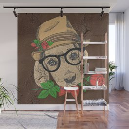 Cute Hipster Pup Wall Mural