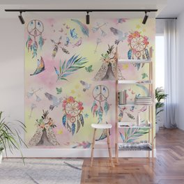 boho elements watercolor collage Wall Mural