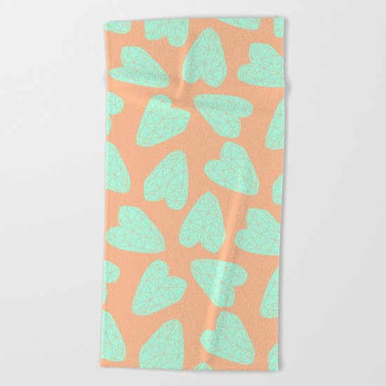 Pastel Hearts Pattern (Love) Beach Towel
