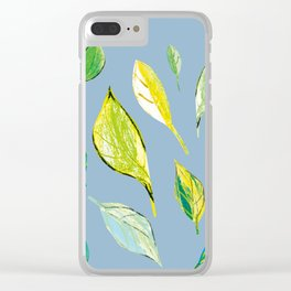 Spring pattern, green leaves design Clear iPhone Case