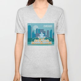 Chicago, Illinois - Skyline Illustration by Loose Petals Unisex V-Neck