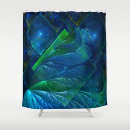 Sea Glass 3D Flame Fractal Shower Curtain