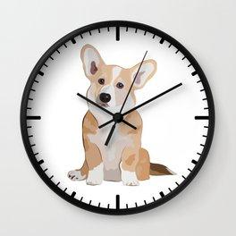 Corgi Waiting Wall Clock