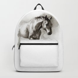 Watercolor painting of horse Backpack