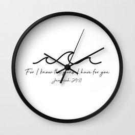 Jeremiah 29:11 Waves, Black Wall Clock