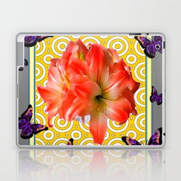Grey Purple Butterflies Pink Amaryllis Flowers Yellow Pattern Laptop & iPad Skin