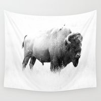 bison Wall Tapestries featuring Bison - Monochrome by Christiane W. Schulze Art and Photograph